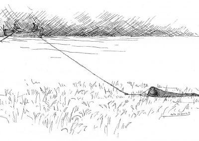 Barca arrossegant un gànguil