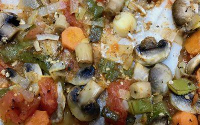 Mero al forn amb verdures
