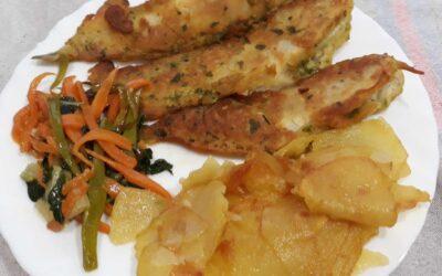 Fish & Chips de bròtola amb verdures al wok